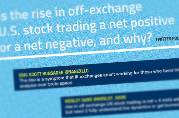Is the rise in off-exchange U.S. stock trading a net positive or a net negative, and why?