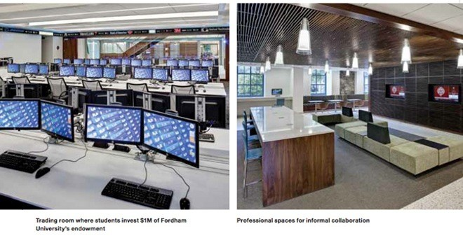 trading room where students invest $1m of Fordham University's endowment & Professional spaces for informal collaboration