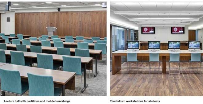 Lecture hall with partitions and mobile furnishings, touchdown workstations for students