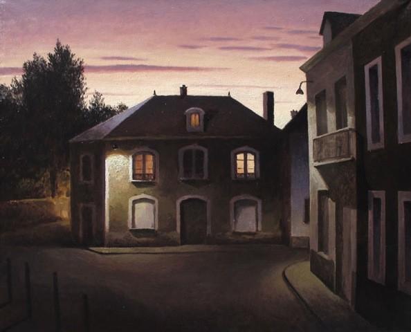 MC 004 - La place a l'aube, 2013, oil on canvas 32x39