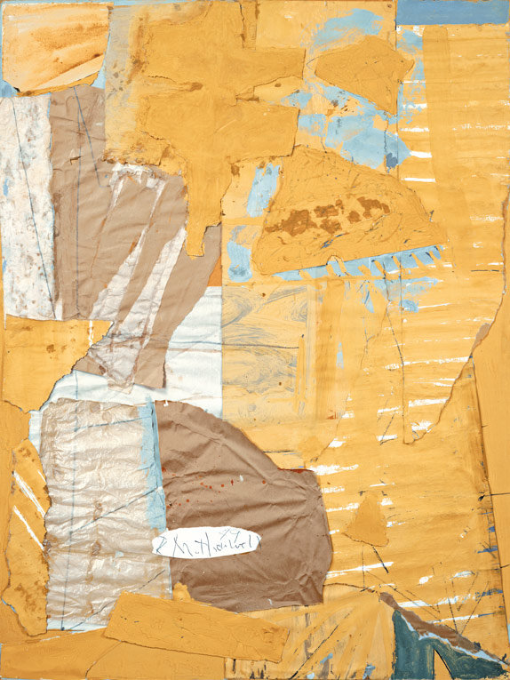 Robert Motherwell Collage in Yellow and White, with Torn Elements, 1949 Casein, watercolor, graphite, and pasted Kraft paper, Japanese paper, tissue paper, drawing paper, and wood veneer on board, 120.3 x 90.2 cm Collection of Mr. and Mrs. Eugene F. Williams III © Dedalus Foundation, Inc./Licensed by VAGA, New York Photo: Courtesy Dedalus Foundation, Inc.