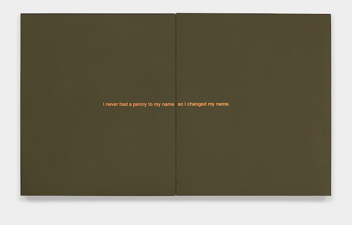 Richard Prince: My Name, 1987. Acrylic and silkscreen ink on canvas. Diptych 55 7/8 x 96 inches overall. 141.9 x 243.8 cm overall