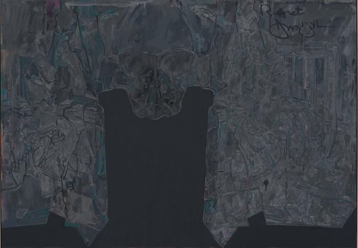 Jasper Johns (American, born 1930). Regrets. 2013. Oil on canvas. 67 × 96″ (170.2 × 243.8 cm). © Jasper Johns/Licensed by VAGA, New York, NY. Photograph: Jerry Thompson