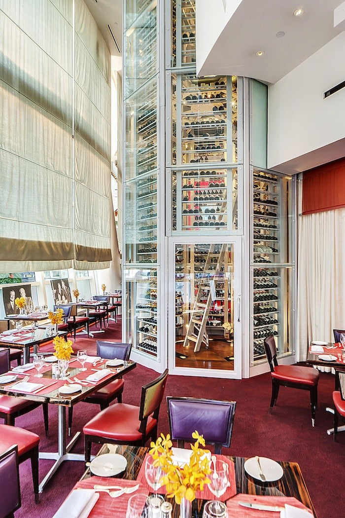 The 2-story Wine Tower reaches from the floor to the ceiling of the restaurant.