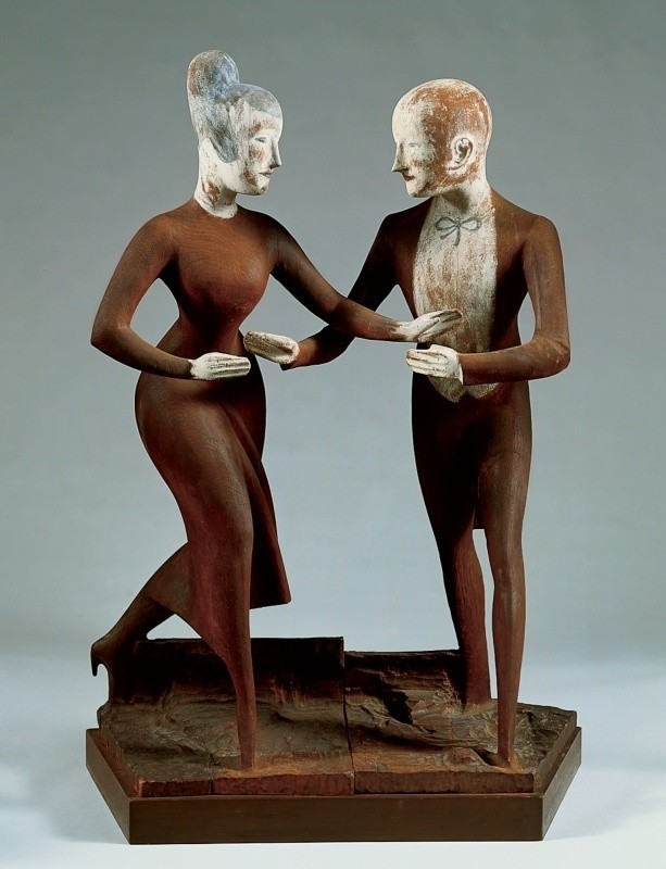 Elie Nadelman, Tango, 1920–24. Painted cherry wood and gesso, three units, 35 7/8 × 26 × 13 7/8 in. (91.1 × 66 × 35.2 cm) overall. Whitney Museum of American Art, New York; purchase with funds from the Mr. and Mrs. Arthur G. Altschul Purchase Fund, the Joan and Lester Avnet Purchase Fund, the Edgar William and Bernice Chrysler Garbisch Purchase Fund, the Mrs. Robert C. Graham Purchase Fund in honor of John I.H. Baur, the Mrs. Percy Uris Purchase Fund, and the Henry Schnakenberg Purchase Fund in honor of Juliana Force 88.1a-c