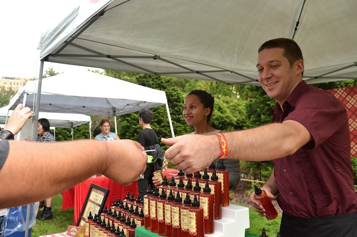Spicy samples from Mike's Hot Honey. Photo by Blanca Begert.