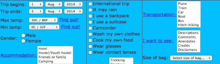 The Universal Packing List