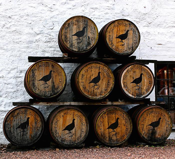 Famous Grouse Barrels Famous Grouse barrels outside the Glenturret distillery in Scotland.