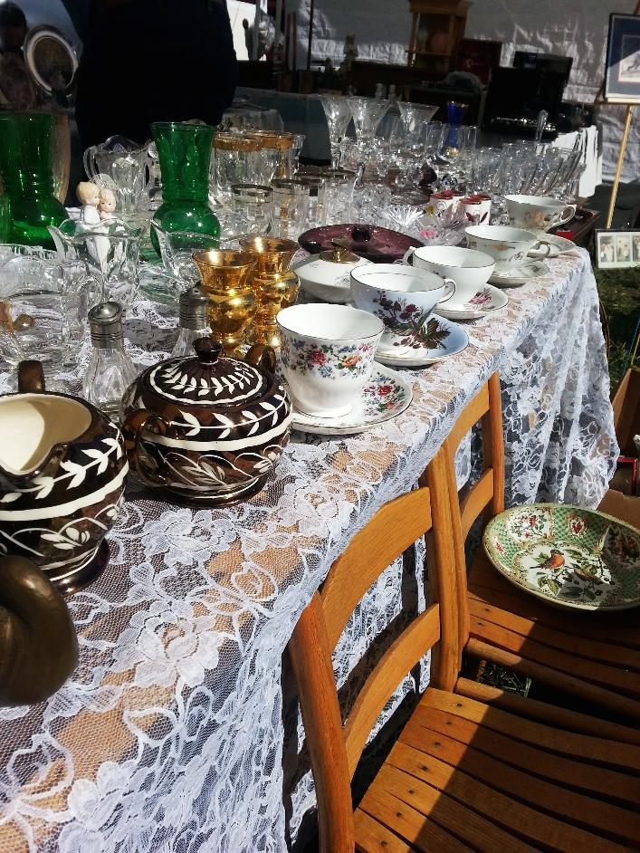 Happily setting the table for holiday meals