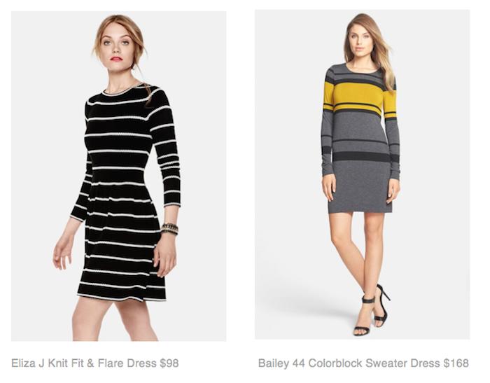 Eliza J Knit Fit & Flare Dress $98,  Bailey 44 Colorblock Sweater Dress $168