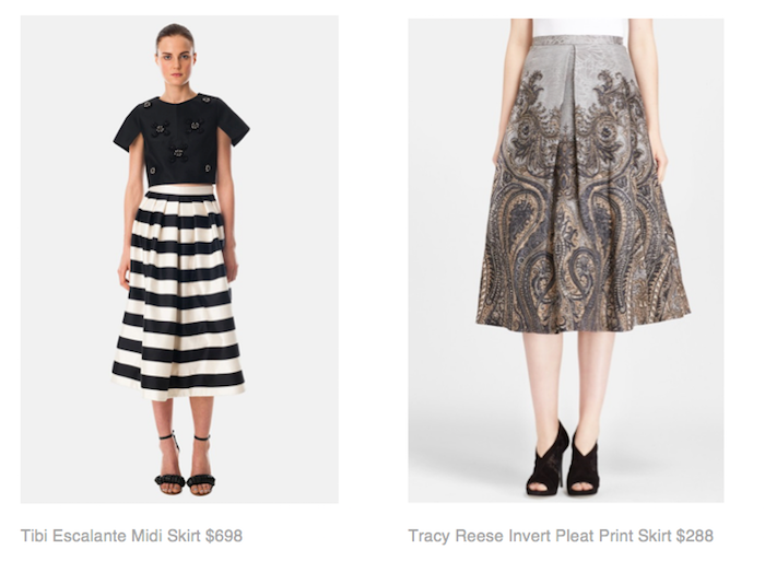 Tibi Escalante Midi Skirt $698, Tracy Reese Invert Pleat Print Skirt $288