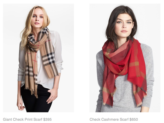Giant Check Print Scarf $395, Check Cashmere Scarf $650