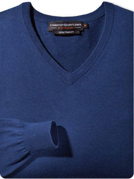 Cobalt Blue V-Neck Cotton Cashmere Sweater $45