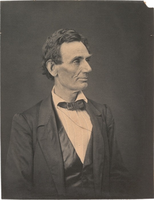 GLC 4200 p.1.  Hesler negative printed by Ayres.  Photograph: Platinum print of beardless Lincoln, June 1860.  (The Gilder Lehrman Collection, courtesy of the Gilder Lehrman Institute of American History. )