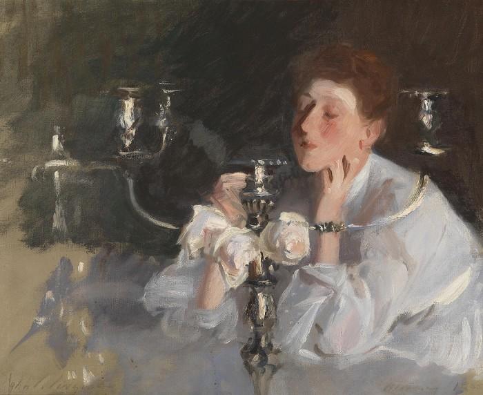 Adelson Galleries. John Singer Sargent, Candelabrum. Oil on canvas, 1885. Signed lower left by John S. Sargent.