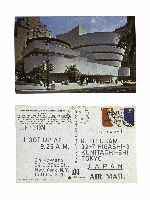 On Kawara JUN 10 1975 From I Got Up, 1968–79 Stamped ink on postcard, 3 1/2 x 5 1/2 inches (8.9 x 4 cm) Collection of Keiji and Sawako Usami