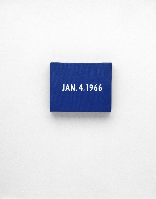 """On Kawara JAN. 4, 1966 """"New York's traffic strike."""" New York From Today, 1966–2013 Acrylic on canvas, 8 x 10 inches (20.3 x 25.4 cm) Private collection Photo: Courtesy David Zwirner, New York/London"""