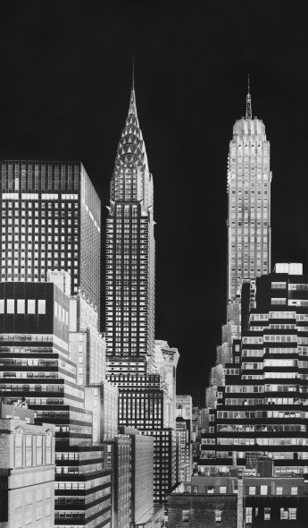VERA LUTTER Chrysler Building, V: July 12, 2014, 2014 Unique gelatin silver print 95 1/4 x 56 inches, (241.9 x 142.2 cm)