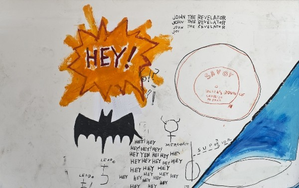 Jean-Michel Basquiat (American, 1960–1988). Untitled (detail), 1986. Acrylic, collage, and oilstick on paper on canvas, overall 94 1/10 x 136 2/5 in. (239 x 346.5 cm). Collection of Larry Warsh. Copyright © Estate of Jean-Michel Basquiat, all rights reserved. Licensed by Artestar, New York. Photo: Gavin Ashworth, Brooklyn Museum