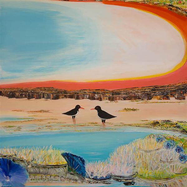 "Krim Benterrak's Feeding Time with Pied Oyster Catchers. Acrylic on Canvas 59"" x 59"""