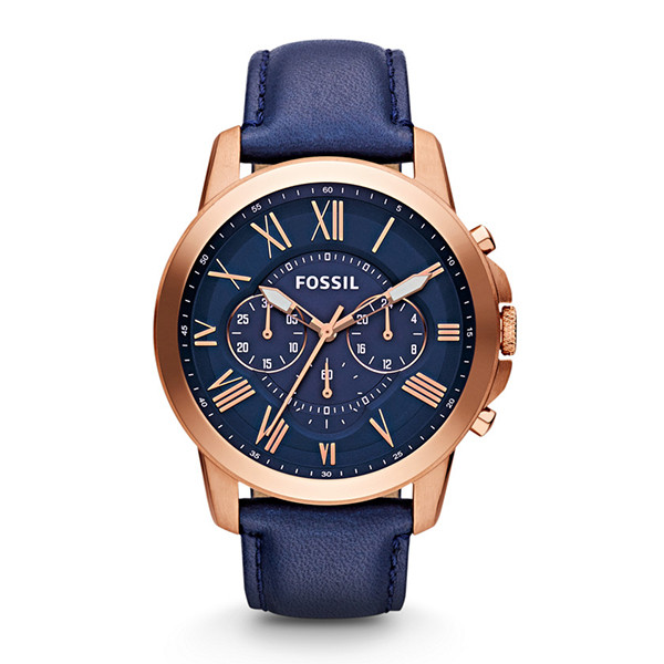 Fossil's Grant Chronograph Leather Watch - Blue