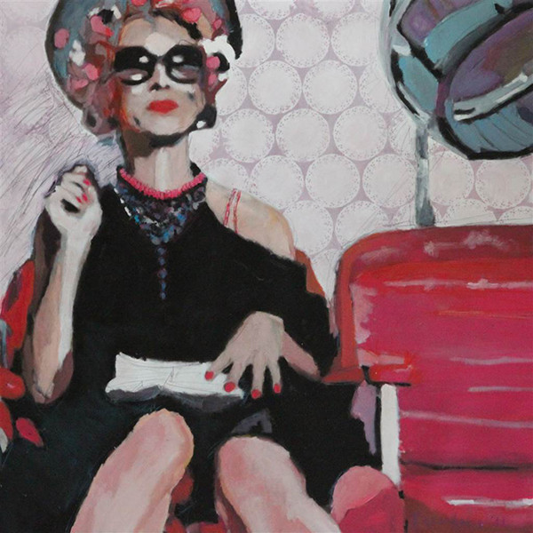 "Helga Zumstein's Lady Gears Up 2. Acrylic on Canvas 39.5"" x 39.5"""