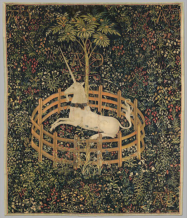 The Unicorn in Captivity (From the Unicorn Tapestries), 1495-1505. Courtesy of the Metropolitan Museum of Art