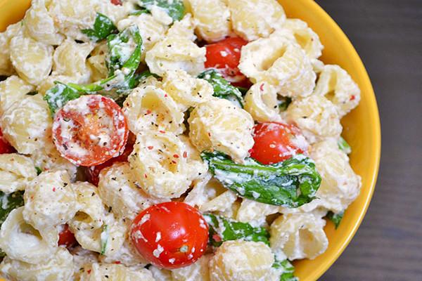 Roasted Garlic Pasta Salad Image courtesy of Budget Bytes