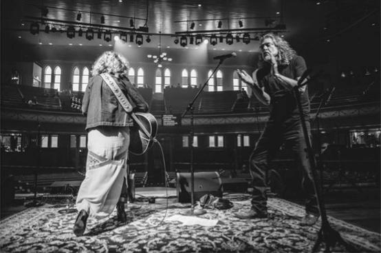 Patty Griffin & Robert Plant © David McClister AMA Rehearsal, Ryman Auditorium, Nashville TN Courtesy of Morrison Hotel Gallery