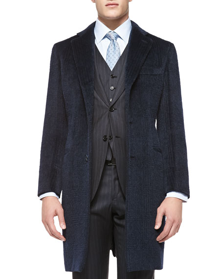 Briono Tonal-Plaid Mohair/Wool Overcoat