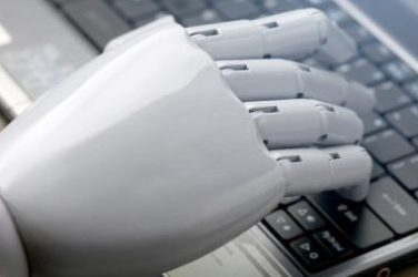 Hand of a robot typing