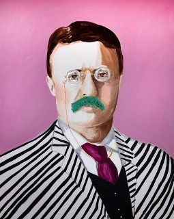 Teddy With Turqoise Stache In Pen Stripes