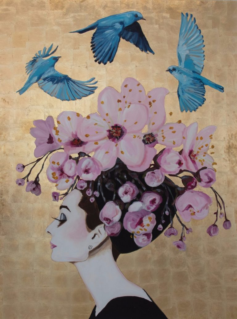 audrey-with-cherry-blossoms-and-blue-birds-with-gold-leaf-background